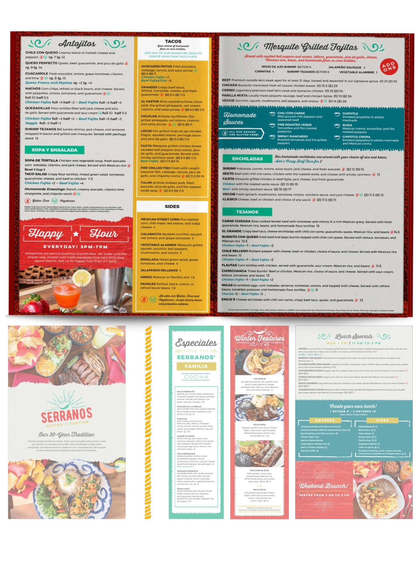 Serranos Printed Food Menu