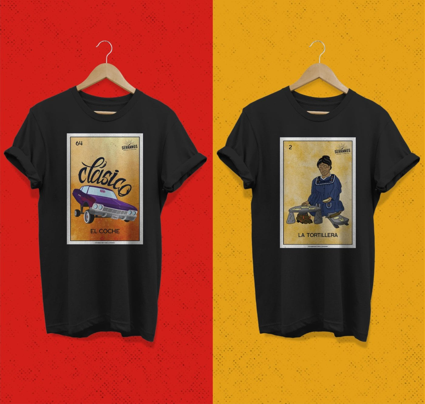 Serranos Loteria Shirts Clasico and la Tortillera