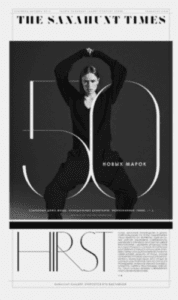 Magazine spread with a women laced in between the number 50.
