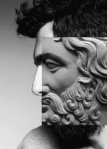 Man's face with greek sculpture overlaid on top