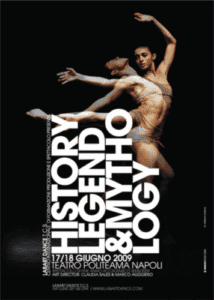 Ballerina leaping with large typography next to her.